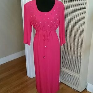 VTG Boho Hot Pink & Gold Studded Maxi Dress!