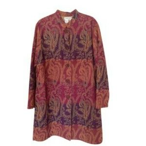 Cold Water Creek Long Wooden Button Duster Coat