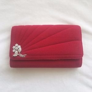 Ronny Kobo Clutch in Red with Silver Flower Detail