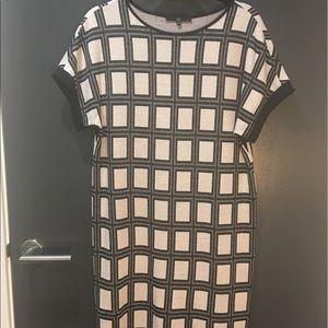Chic TIBI Hi-Lo Windowpane Sheath Sweater Dress