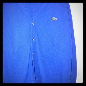 Blue Lacoste sweater, button up. Izod. Vintage.