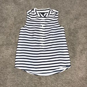 J. Crew Tops - J.Crew Navy and White Stripe Sleeveless Blouse