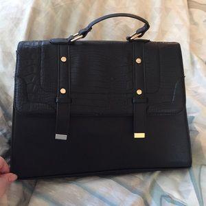Black Handbag with Gold Hardware and Croc Flap