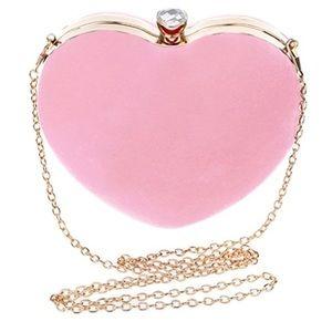 Pink Heart Shaped Clutch Purse