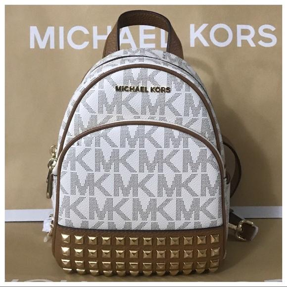 6ed5ca989e1e Michael Kors Bags | Nwt Mk Abbey Xs Studded Backpack Vanillaacorn ...
