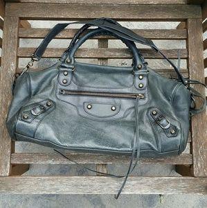Authentic balenciaga twiggy dark grey satchel