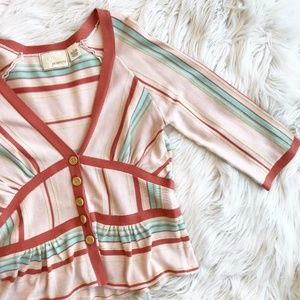 Anthropologie Guinevere Candy Stripe Cardigan