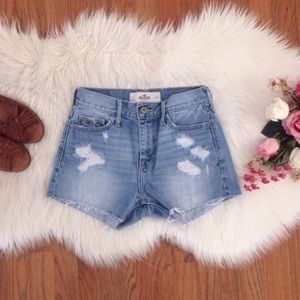 Distressed Hollister high waisted jean shorts