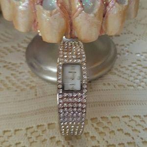 Rhinestone Silvertone Bracelet Watch