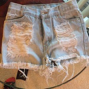 John Galt Brandy Melville distressed Jean shorts