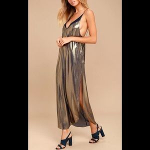 FREE PEOPLE anytime shine gold maxi