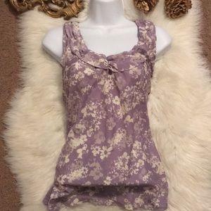 ❌ M Lavender Gray White Blouse