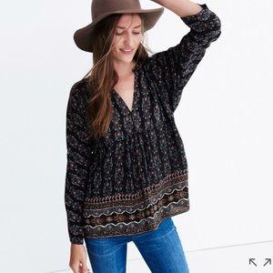 Madewell silk bohème popover shirt