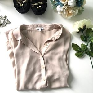 Beige Mixed-Media Button-Down Collared Blouse