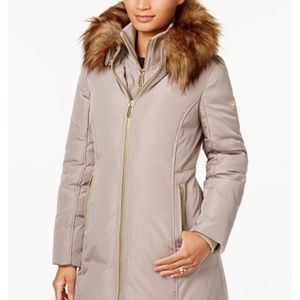 XS Michael Kors Faux-fur-trim layered down coat