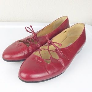 VTG Calvin Klein Red leather lace up flats Italy