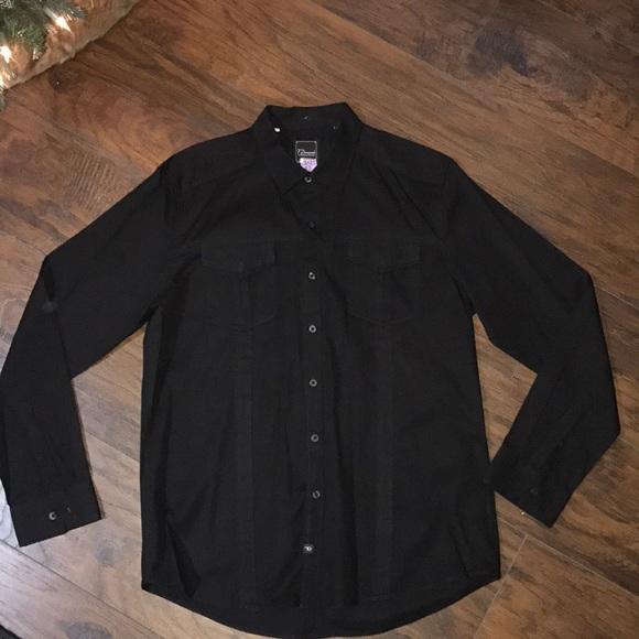 Mens 7 Diamonds Black Button Down Shirt