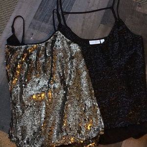 Two sparkly tops.