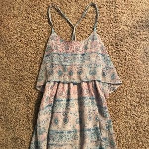 UO Ecote Pastel Boho Print Flowy Mini Dress