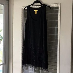Fun Black Catherine Malandrino Dress with Feathers