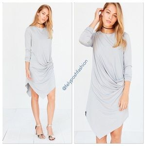 Silence + Noise Gray Xander Drape-side Midi Dress