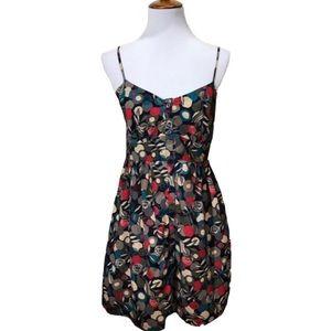 Forever 21 Geometric Floral Buttondown Dress Navy