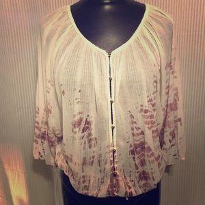 American Rag blouse NWT bohemian top tie-dye white