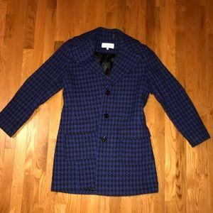 Navy blue houndstooth Calvin Klein pea coat