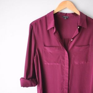 Ann Taylor 100% Silk Deep Purple Cuffed Sleeve Top