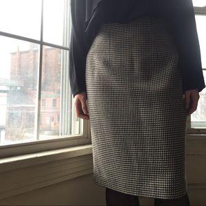 Vintage 100% Wool Houndstooth Pencil Skirt