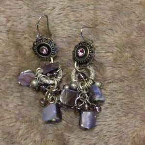 Dangle earrings silver with purple accents