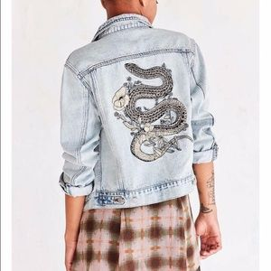 Snake Embroidered Denim Jacket - Urban Outfitters