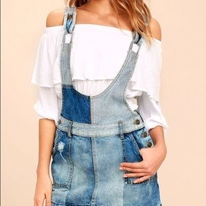 Free People Patchwork Denim Overall skirt NWT
