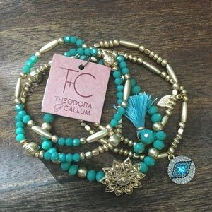 Turquoise and gold costume jewelry bracelet