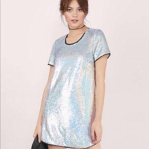 TOBI silver sequin shift dress.  Holographic.