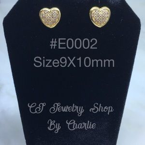 Gold Plated Cubic Zirconia Stud Earring