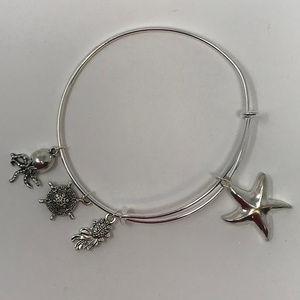 Starfish - Silver Adjustable Bangle Bracelet