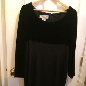 Jones New York black velvet and silk dress
