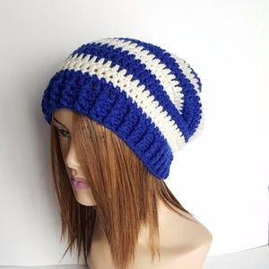 Navy and Cream Striped Slouchy Hat, Beanies