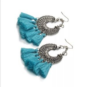 Turquoise tassel fringe earrings