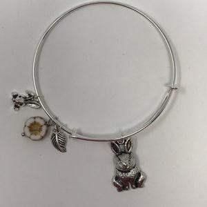 Bunny Rabbit - Silver Adjustable Bangle Bracelet