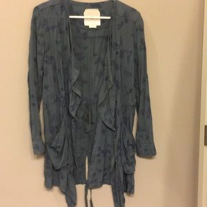 Anthropologie cardigan with blue floral print
