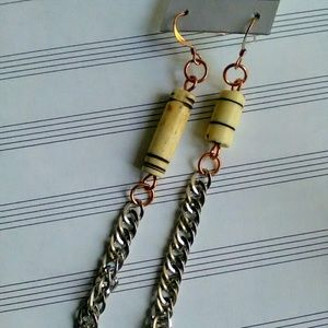 Mismatched Earrings, Handmade Bone Jewelry, chains