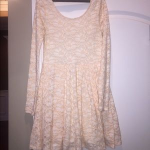 Free People Lace peach fit and Flare skater dress