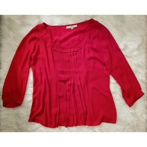 Ann Taylor Loft Red Pleated Scoop Neck Blouse Top