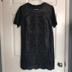 Zara Scalloped Vegan Leather Dress