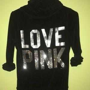 PINK blinged Terrycloth hoodie.