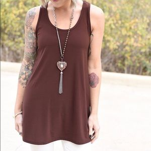 ZigZag Stripe Day to Day Tank Choc. Brown Small