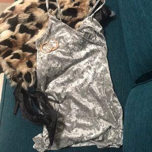 Crushed Velvet Silver slip dress