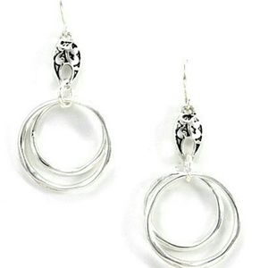 Double Ring dangle drop earrings.